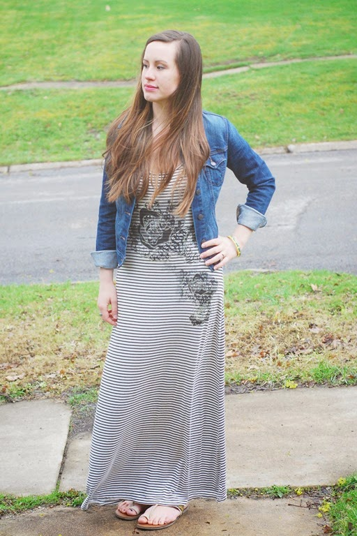 maxi dress, denim jacket