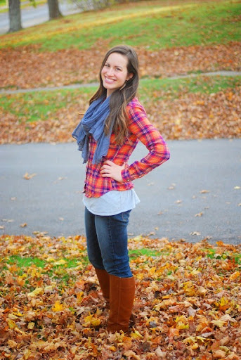 flannel, scarf, brown boots