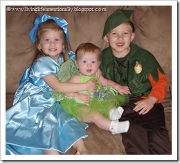 My 3 kiddos ready for Halloween & our Peter Pan Week