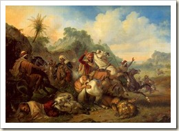 raden-saleh pertarungan dengan banteng