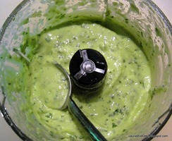 Yogurt, avocado, lime, cilantro, garlic - the dressing