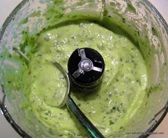 Yogurt, avocado, lime, cilantro, garlic - the dressing