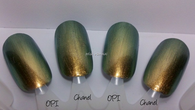Chanel Peridot vs. OPI Just Spotted the Lizard 3 coats