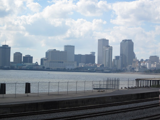 The New Orleans skyline is just outside NOCCA's windows.