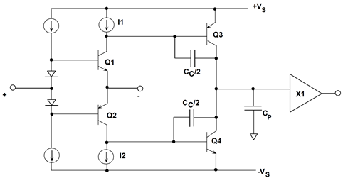 Simplified two-stage current feedback op amp