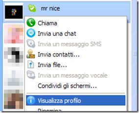 Visualizzare il profilo Skype di un contatto