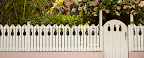 A picket fence with pineapple carvings.