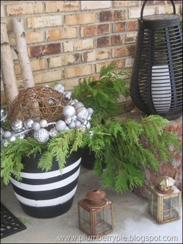 plumberry pie winter front porch pot