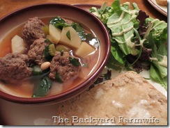 White Bean & Meatball Soup - The Backyard Farmwife