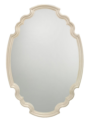 Here, a close-up of the Ingrid Scalloped Mirror - an heirloom piece for a bargain at a price below $200  (size: 40