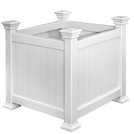 I love the simple, classic look of these boxed white planters. They would look great along a pathway. (homedepot.com)