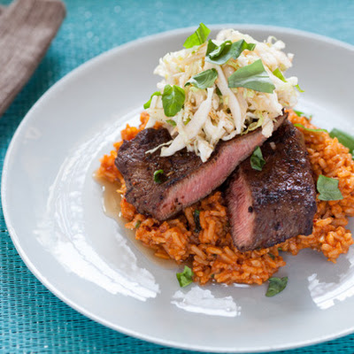 Chili-Rubbed Flat Iron Steaks with Quick Kimchi & Tomato Rice