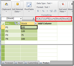Adding stock as a calculated column