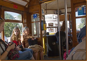 Lisbon,trams passing