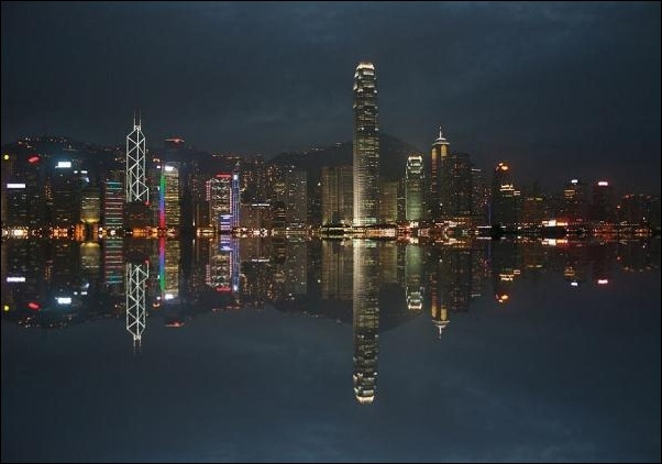 6. Hong Kong reflection in water