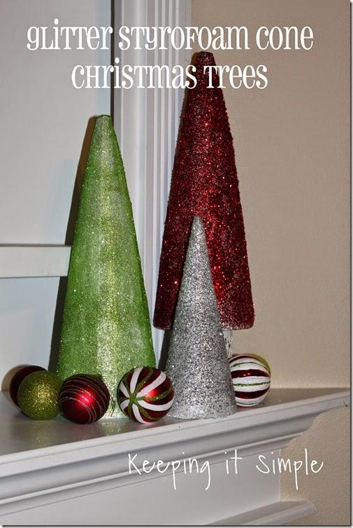 Glitter styrofoam cone Christmas Trees