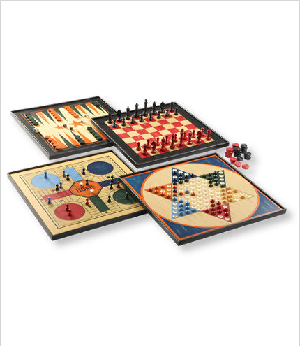 I love all kind of games.  L.L. Bean offers the vintage board games of Backgammon, Checkers, Parcheesi and Chinese Checkers individually or as a set of four.  They would make great hostess gifts.
