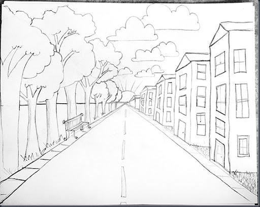 Рисунки улицы уходящей в даль
