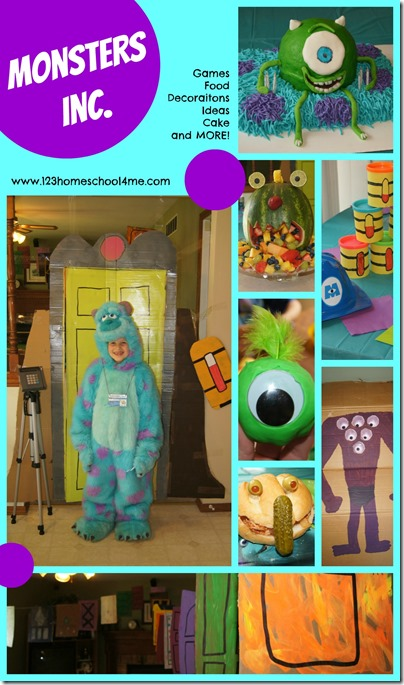 monsters Inc. party Ideas including themed food, monster decorations, games and more.