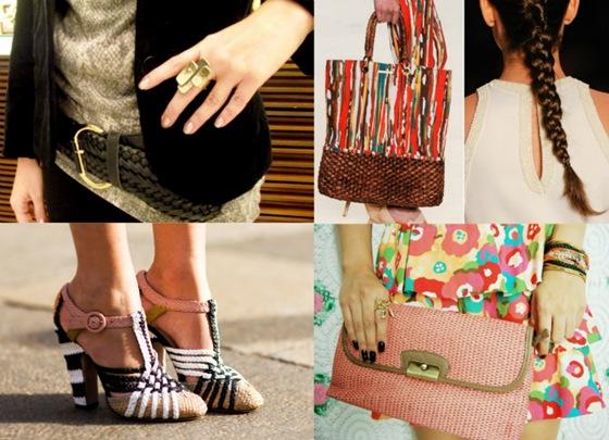 Tressê: Cinto, sapatos, bolsas e tranças
