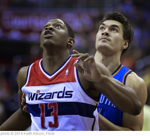 'Kevin Seraphin, Steven Adams' photo (c) 2014, Keith Allison - license: https://creativecommons.org/licenses/by-sa/2.0/