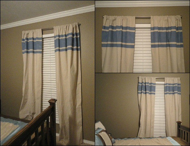 Drop cloth curtains collage