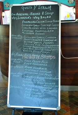 The chalk board menu