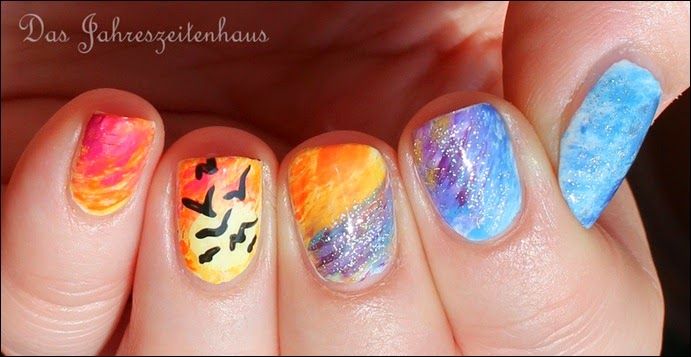 Flying Birds Sundown Nail Art 2