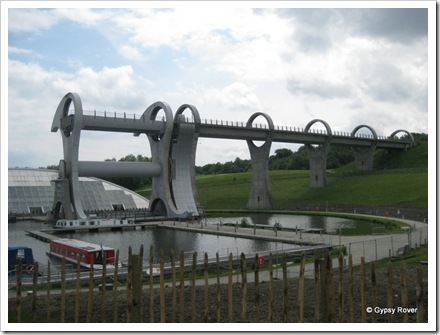 Falkirk Wheel and the aqueduct leading to the Union Canal.