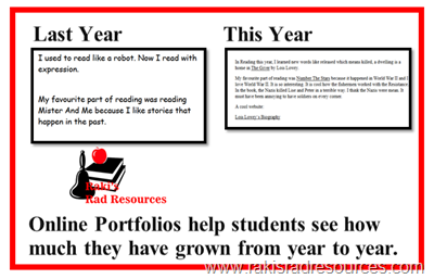 Online portfolios help students see how they have grown from year to year.  They are a video collection, rather than a photograph of one time and one place.  Raki's Rad Resources