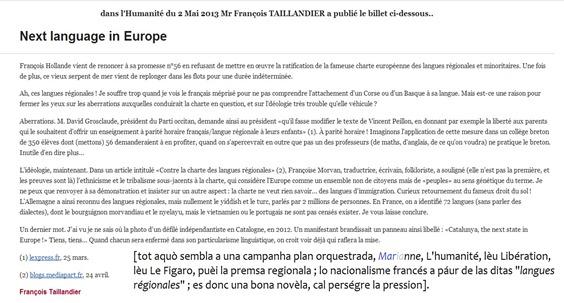 L'humanité publica Next Language in Europe