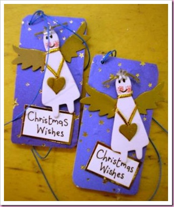 Wooden Christmas Tags with Angels