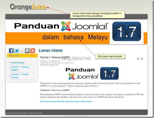 tukar templet Joomla 1.7 - laman web dengan imej baner baru
