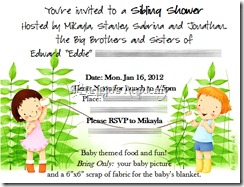 Sibling Shower Invite SAMPLE