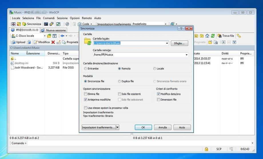 WinSCP sincronizzare cartelle di Linux in Windows
