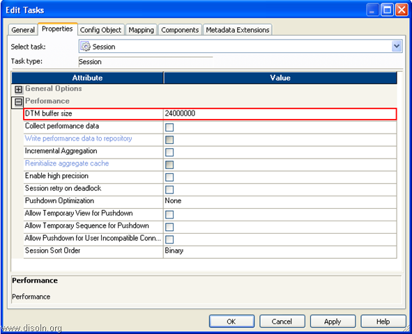 Informatica session DTM buffer size