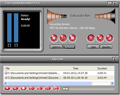 Free Sound Recorder modalità player audio