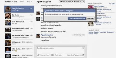 Cómo borrar una conversación completa con un amigo en Facebook