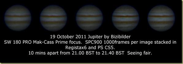 19 October 2011 Jupiter sequence