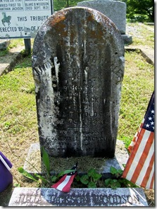 Julia Jackson's grave stone placed by Capt. Ranson in the 1880's