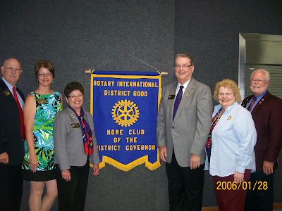 Pictured are: Terry and Peggy Geiger (District Governor Elect), Becky and Don Patterson (District Governor), and Colleen and Gary Welch (Past District Governor).  Photo Courtesy of Susan Wellington, Rotarian