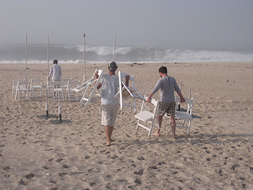 We brought 40 folding chairs out to the water's edge.