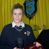 Student of the Year Gillian Marley at the Mulroy College prize giving on Thursday night last. Photo Clive Wasson.
