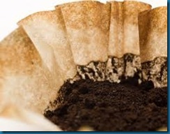 coffee filters and grounds