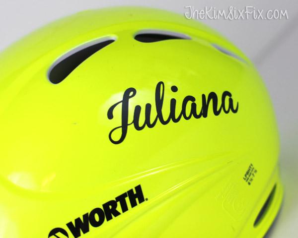 Name on baseball helmet