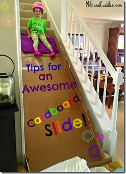 Cardboard Slide for Kids from Milk and Cuddles