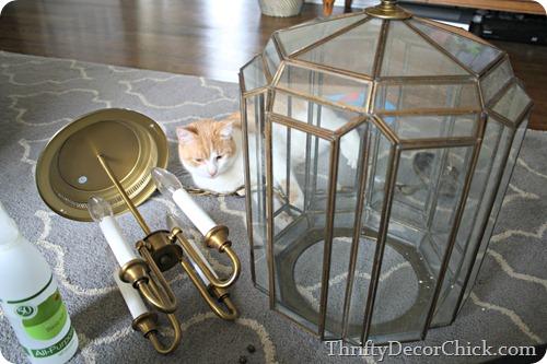 painting brass light fixture