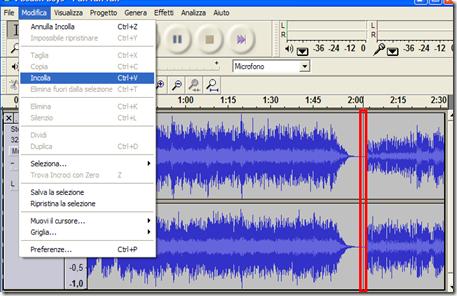 Unire più file audio in uno con audacity