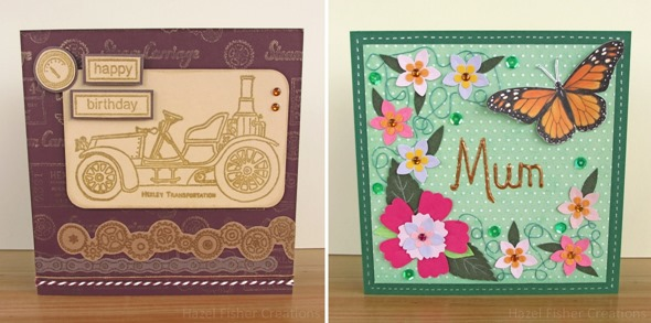 2014 April 15 handmade cards steampunk birthday car butterfly and flower mothers day