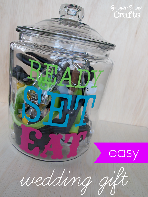 easy wedding gift using Silhouette vinyl lettering #gingersnapcrafts